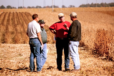 Farmers at a soybean field meeting