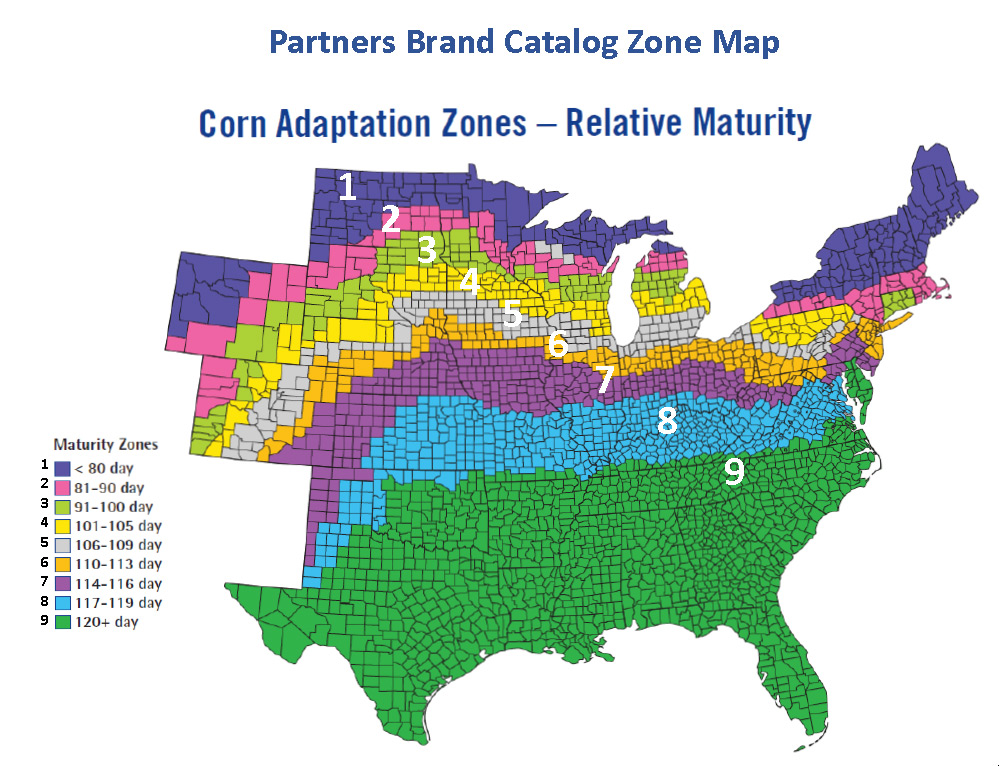 Partners Brand Corn Adaptation Zone Map